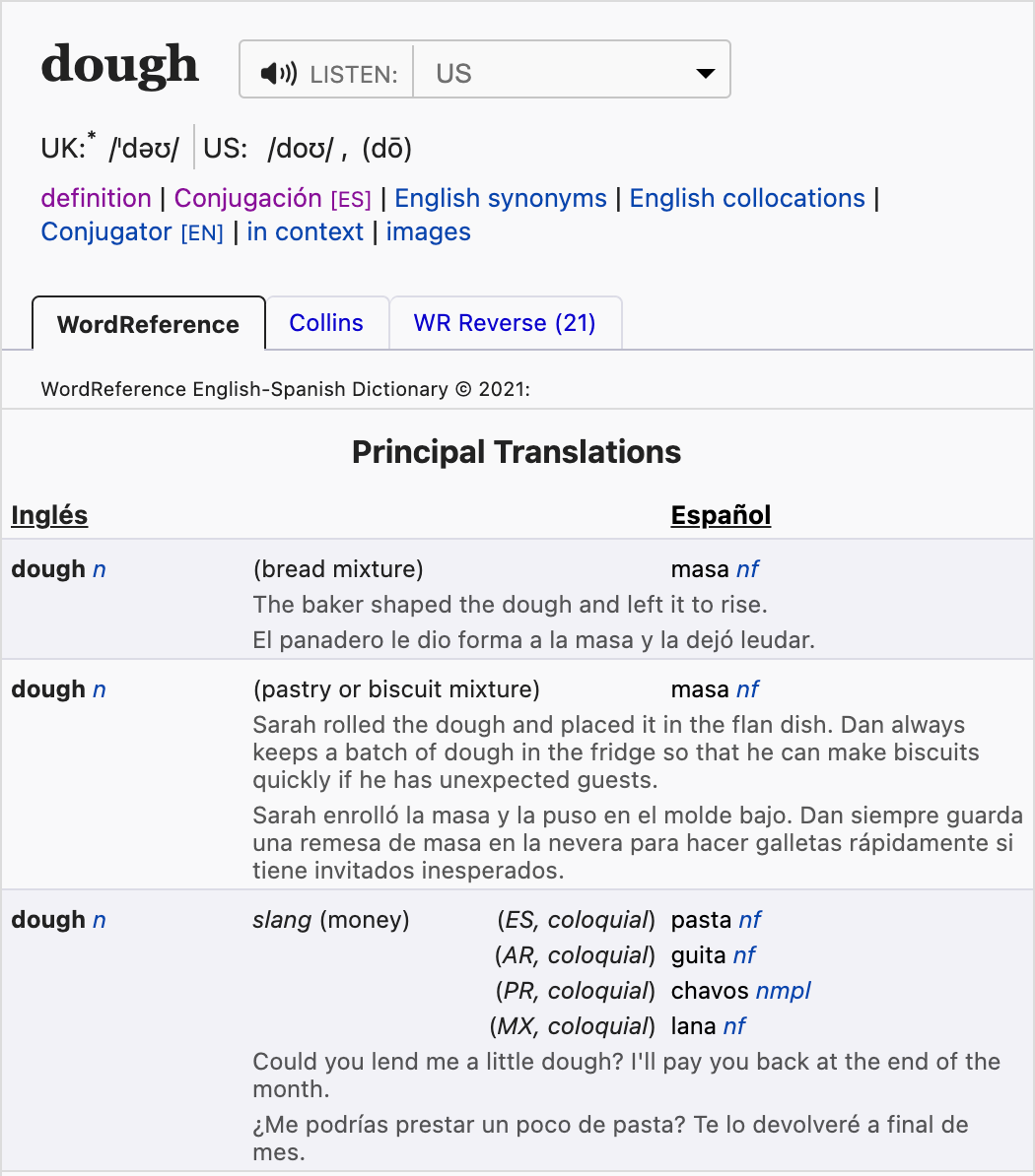 """Screenshot of the WordReference.com entry for """"dough"""". It includes three different """"Principle Translations"""" corresponding to different Spanish words, and the final principle translation includes slang terms for """"money""""."""