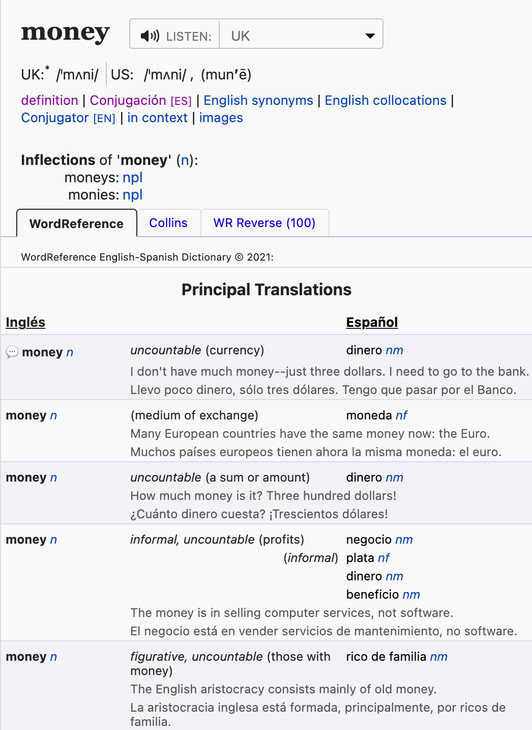 """Screenshot of the WordReference.com entry for """"money"""". It includes five different """"Principle Translations"""" corresponding to different Spanish words."""