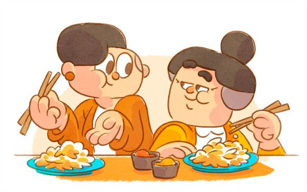 Drawing of Duolingo characters Lucy and Lin, who are grandmother and granddaughter, sitting together at a table. They are looking at each other and both have chopsticks in their hands and are eating from a plate piled high with food.