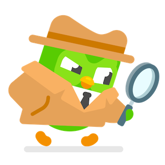 an illustration of duo the owl, wearing a brown fedora and trench coat and holding a magnifying glass