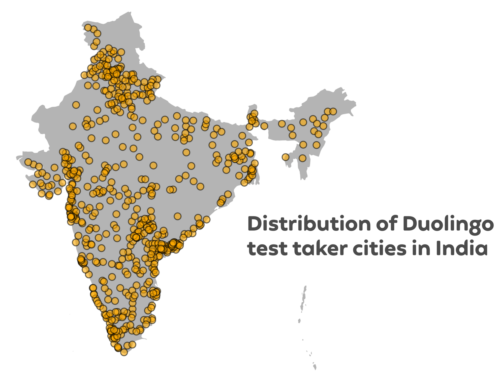 Map showing Duolingo English Test taker distribution in India