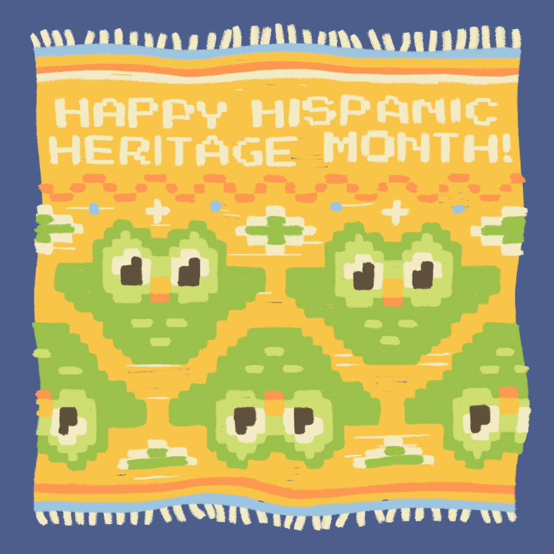 """Illustration of a woven blanket typical in Mexico and Central America, with the words """"Happy Hispanic Heritage Month"""" and the Duolingo owl woven into it"""