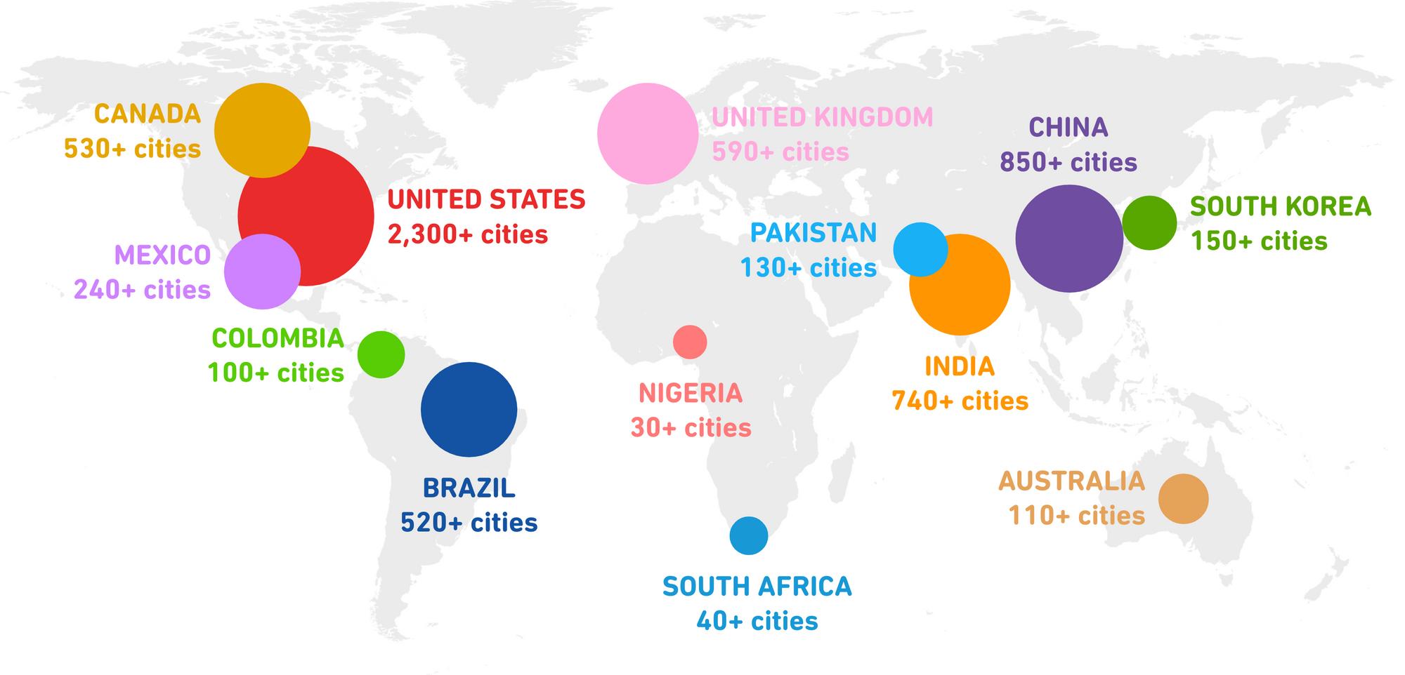World map showing distribution of Duolingo English Test takers