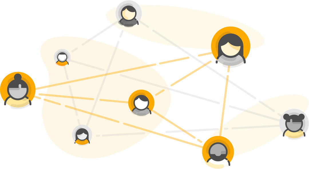An image of eight test takers connected in a web by orange and grey lines