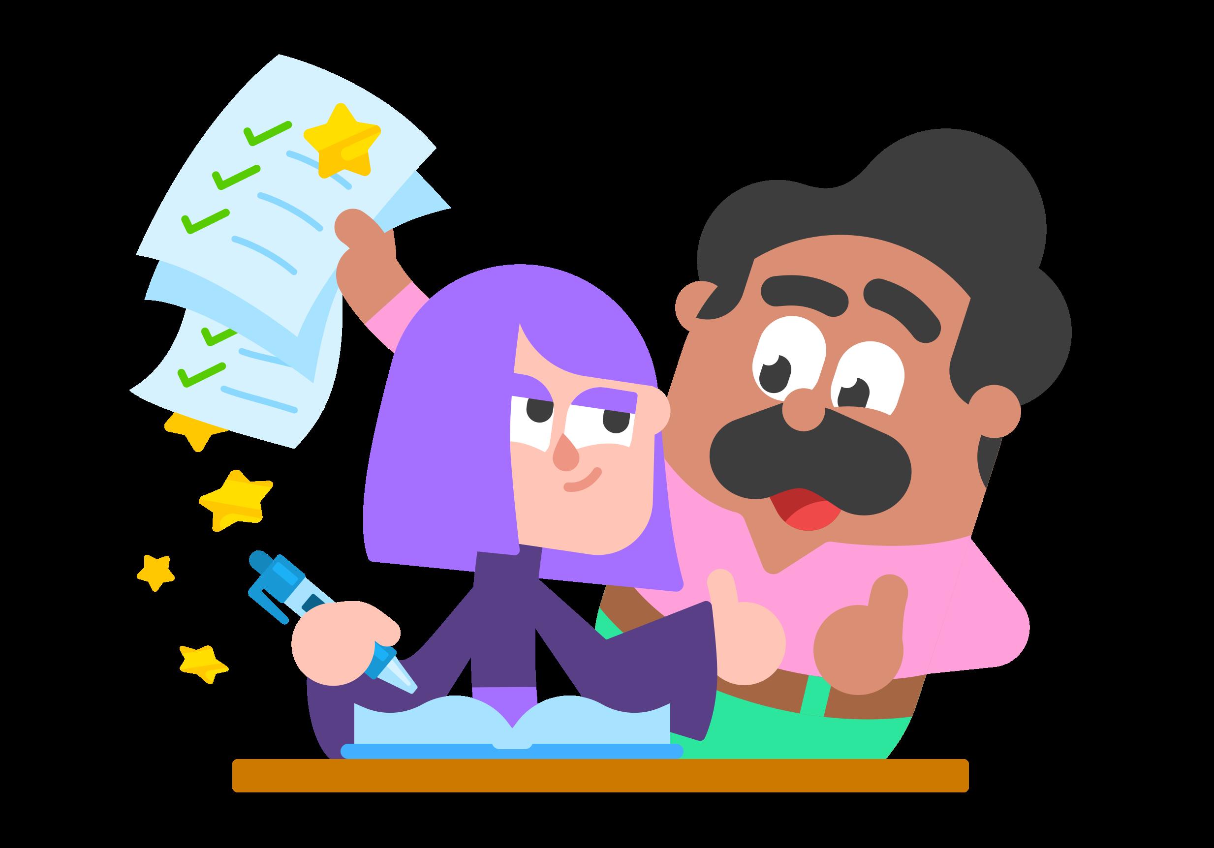 Two Duolingo characters learning