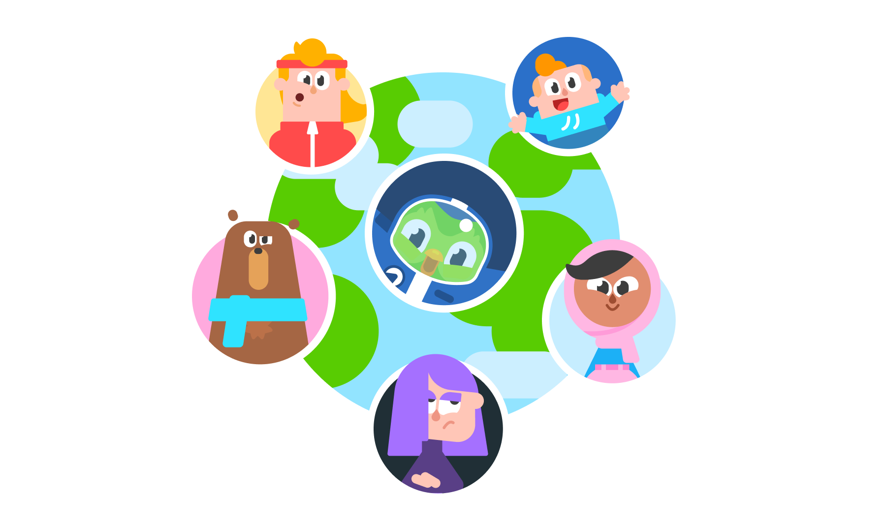 Illustration of the Earth as seen from space, with Duo the Duolingo owl mascot at the center in a space suit and five Duolingo characters in an orbit around him.