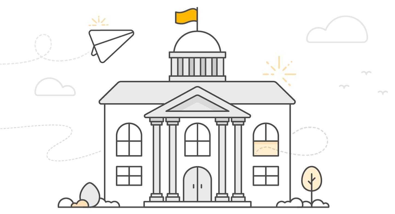 Depiction of a university building